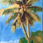 redland yurara art society - autumn exhibition - Leaves 'Tropical Beach Scene' -Judith Shaw - tall palm trees - coconuts