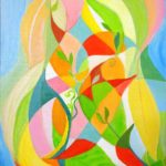 redland yurara art society - autumn exhibition - Leaves 'Twisting & Twining' - Danielle Bain - abstract - leaf pattern - bright colours