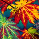 yurara art society - autumn exhibition - leaves - 'Variegated Foliage' - Lisa De Leon - Acrylic on Canvas - painting