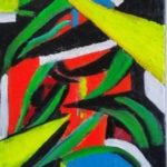 redland yurara art society - autumn exhibition - leaves - 'abstract leaves' - Tarja Rantala - painting - abstract - bright colours - geometric designs