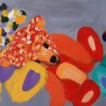 yurara art society - isolation blues - art exhibition - painting - Bears of Colour – Jodi Van Der Pligt - Teddy Bears - cuddly comforting