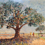 redland yurara art society - my queensland - online art exhibition - painting - 'A Bay Walk'- Mary Kirkby -Oil painting - fig tree - beachside