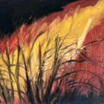 redland yurara art society - my queensland - painting - online art exhibition - 'Cane Fire Burning' - Judith Shaw - Oil - Canvas