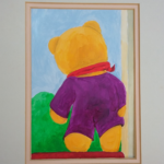 redland yurara art society - isolation blues - online art exhibition - painting - 'Care Bear 1' - Lynne Wright - Acrylic on Paper - Care Flight Bear - out of the wardrobe - stand vigil - verandah rail -watched - Riesling Street - over the hedge - children passing - see him