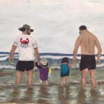redland yurara art society - my queensland - art exhibition - online - painting - 'Dad time Teewah Beach' - Evelyn Kerlin - Acrylic on canvas paper - fathers - children - beach