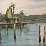 redland yurara art society - art exhbition - online - my queensland - painting - 'Dunwich' - Philip van Niekerk -  Watercolour - Framed - stradbroke island - sibelco sand loading plant - waterfront