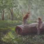 redland yurara art society - art exhibition - online - isolation blues - painting - 'Enjoying Autumn' - Jacqui Selke-Pike - Pastel on paper - Framed - Children - find - something interesting - explore