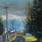 redland yurara Art society - art exhibition - isolation blues - painting - 'Grovers Lane, Glen Innes' - Karen Munster - Acrylic on canvas - favourite laneways - Glen Innes NSW