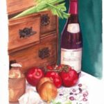redland yurara art society - art exhibition - online - isolation blues - 'It's still life with Beaujolais!'- Lynn Dickinson -Watercolour - beans - tomatoes -garlic - fresh herbs -simple satisfying meal - young red - crusty bread