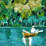 redland yurara art society - my queensland - online art exhibition - painting - 'Lake Baroon, Nth Maleny' - Gloria Dietz-Kiebron - Acrylic -row boat