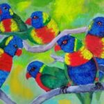 redland yurar art society - my queensland - online art exhibition -painting - 'Lorikeets' - Tarja Rantala - Acrylic on Canvas - Currumbin Wildlife Sanctuary - beautiful birds