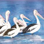 redland yurara art society - my queensland - online art exhibition - watercolour painting - 'Pelicans at Dusk' - Lynn Dickinson - ) Original - Watercolour
