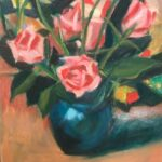 redland yurara art society - art exhibition - painting - isolation blues - roses - 'Rose Bowl' - Judith Shaw - Oil - Canvas