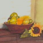 redland yurara art society - art exhibition - online - isolation blues - 'Still Life with Sunflower' - Lynn Dickinson - Watercolour - Giclee print - Slowing down - to notice - shadows - blinds - mundane -fruit bowl - sublime - complementary colours