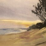 redland yurara art society - my queensland - online art exhibition - painting - 'Straddie Sunset' - Philip van Niekerk - Watercolor - stradbroke island