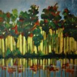 "'The Forest 2' Gloria Dietz-Kiebron $140 (580x450mm) Acrylic on Canvas ""Using the drip method a Forest emerged."""