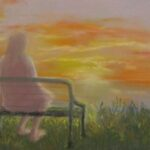 redlandyurara art society - art exhibition - isolation blues - painting - online - 'Tomorrow's over the horizon' -Jacqui Selke-Pike -Pastel on paper - Framed - socially alone - better times - will come