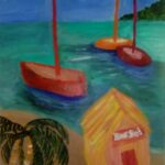 redland yurara art society - my queensland - 'Tropical Memories' - Jodi Van Der Plight - Acrylic - painting - boats - seaside