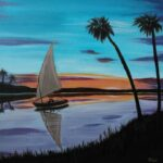 redland yurara art society - art exhibition - isolation blues - painting - 'Yacht on Lake' - Peter Veal - Acrylic - Canvas - Unframed