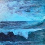 redland yurara art gallery - art exhibition - painting - shades of blue - 'La mer Bleu -Blue Sea - Col Owens - Acrylic on Canvas - seascape - waves crashing