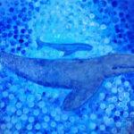 redland yurara art gallery - art exhibition - painting - shades of blue - 'Blue Whale and baby' - Tarja Rantala - Acrylic on Canvas