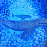 redland yurara art gallery - art exhibition - painting - shades of blue - 'Blue Whale and baby' - Tarja Rantala - Acrylic on Canvas