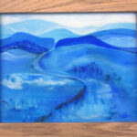 redland yurara art gallery - art exhibition - shades of blue - painting - artworks for sale - 'Bluescape' - Danielle Bain - Acrylic - Framed - landscape