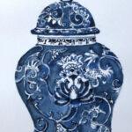 redland yurara art society - shades of blue - art exhibition - - paintiing -'Ginger Jar - dark blues' -Eunice King -Watercolour