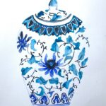 redland yurara art gallery - art exhibition - painting - shades of blue - 'Ginger Jar - light blues' - Eunice King -Watercolour