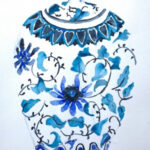 redland yurara art gallery - art exhibition - painting - shades of blue - 'Ginger Jar - light blues' - Eunice King -Watercolou