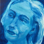 redland yurara art gallery - shades of blue - painting - art exhibition - 'Reflection' - Karen Munster - Acrylic on Canvas - woman's face - tilted