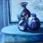 redland yurara art gallery - art exhibition - painting - shades of blue - still life - 'The Blue Room'- Judith Shaw - Oil on Canvas - vases - bowls - table