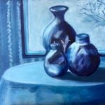 redland yurara art gallery - art exhibition - painting - shades of blue - still life - 'The Blue Room'- Judith Shaw - Oil on Canvas - vases - bowls - table
