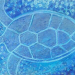 redland yurara art society - art exhibition - painting - shades of blue - 'Turtle' - Tarja Rantala - Acrylic on Canvas - sea turtle