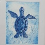 Redland Yurara Art Society - Shades of Blue - Art Exhibition - Painting - 'Young Turtle' - Evelyn Kerlin - Watercolour - Framed