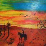Redland Yurara art Society - 'Lone Rider' - Tarja Rantala - Acrylic - Painting - Art Exhibition - Outback Australia