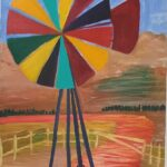 Redland Yurara Art Society - 'Outback Windmill of Colour' - Jodi Van Der Pligt - Acrylic - Painting - Art Exhibition - Outback Australia