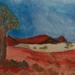 'Salt Pan' - Rosie Sheehan - Framed watercolour - Painting - Redlands Yurara Art Society - Art Exhibition - Outback Australia
