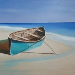 Redland Yurara Art Society - 'Boat on a Beach' - Christine Pugh - Oil- Painting - Art Exhibition - Seascapes and Beaches