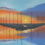 Redland Yurara Art Society -'Boats in Harbour at Sunset' - Peter Veal - Acrylic - Painting - Art Exhibition - Seascapes and Beaches