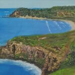 Redland Yurara Art Society - 'Lennox Head' -Ray Hackett - $800 - Oil - Framed - Painting - Art Exhibition - Seascapes and Beaches