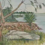 Redland Yurara Art Society - 'Ormiston Boat' Kathryn Ryan - Watercolour - Framed - Painting - Art Exhibition - Seascapes and Beaches