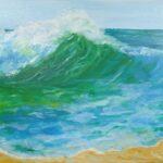 Redland Yurara Art Society - 'The 'Seascape 2' Tarja Rantala $90 (410 x 510mm) Acrylic Painting - Art Exhibition - Seascapes and Beaches
