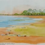 Redland Yurara Art Society - 'Smoky Day at Oyster Point' - Danielle Bain - Watercolour - Framed - Painting - Art Exhibition - Seascapes and Beaches