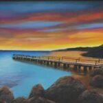 Redland Yurara Art Society - 'The 'Sunset' Ray Hackett $500 (590 x 900mm) Oil Framed Painting - Art Exhibition - Seascapes and Beaches