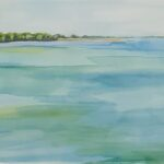 Redland Yurara Art Society - 'The Waters and Raby Bay' - Danielle Bain - Watercolour - Framed - Painting - Art Exhibition - Seascapes and Beaches