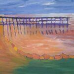 Redland Yurara Art Society - 'Wello Point Jetty' - Jodi Van Der Pligt - Acrylic - Painting - Art Exhibition - Seascapes and Beaches