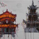 redland yurara art society - yurara youth art awards - YYAA 2020 - art exhibition - art competition - 'Asian Temple' - Darcie Lloyd -Cleveland District State High School - Watercolour