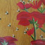 redland yurara art society - yurara youth art awards - YYAA 2020 - art exhibition - art competition - 'Bee in Life' - Millie Rankin - Cleveland District State High School -Acrylic - Gold leaf