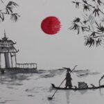 redland yurara art society - yurara youth art awards - YYAA 2020 - art exhibition - art competition - 'Blood Moon' - Archie Davis - Cleveland District State High School - Ink on paper